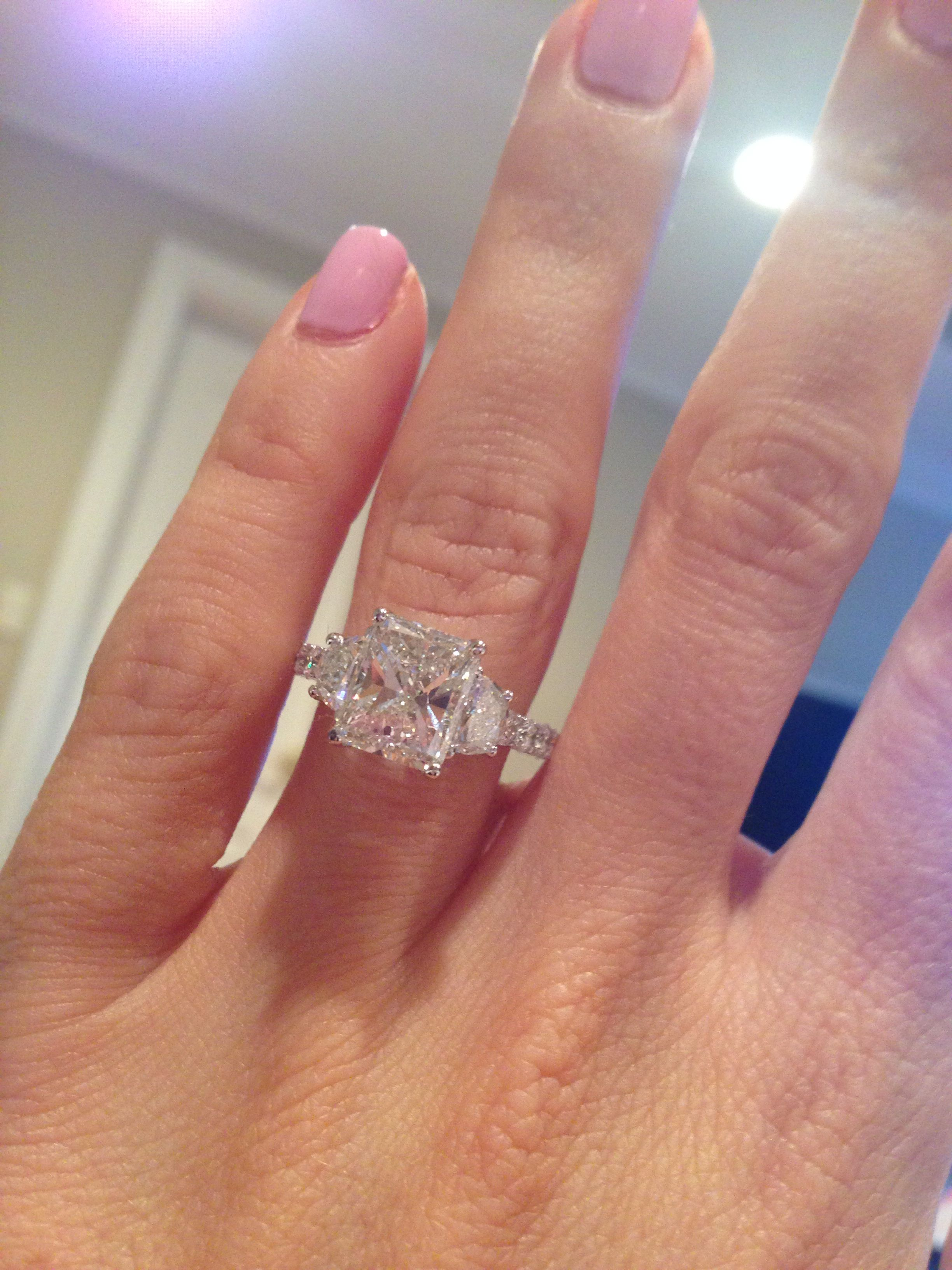 Greta tar here it is my radiant threestone engagement ring inlove