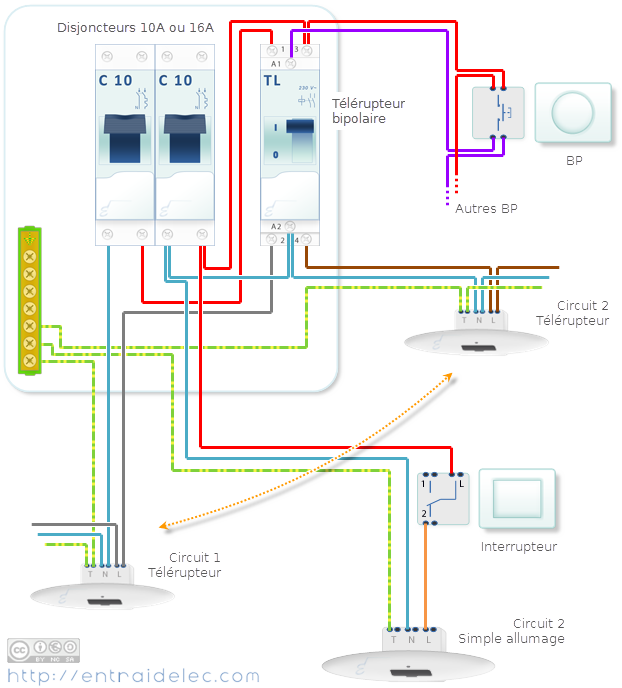 schéma télérupteur bipolaire avec deux circuits Schémas