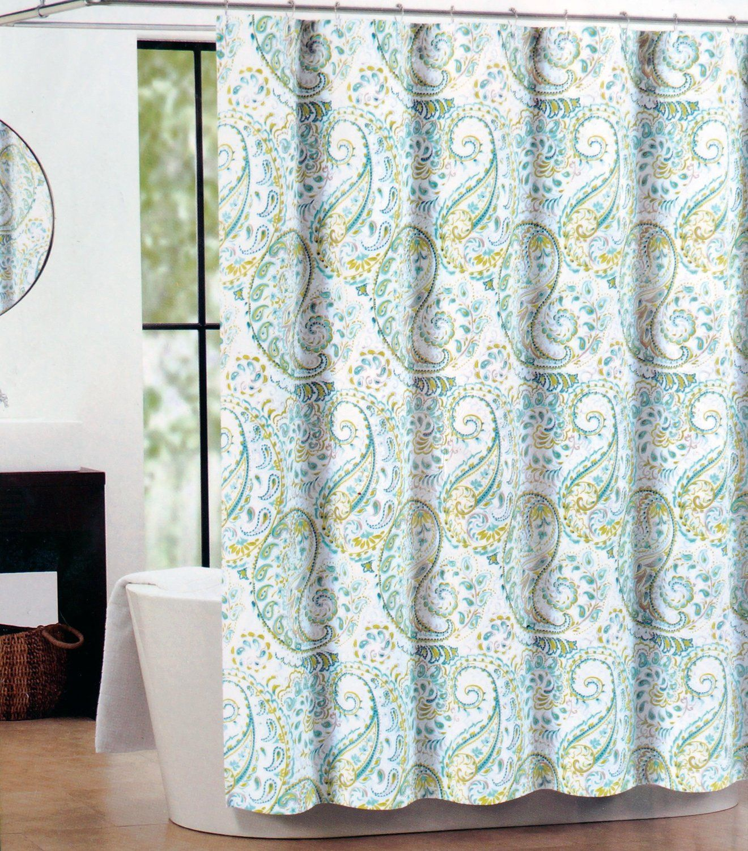 green and gray shower curtain. Amazon com  Tahari Fabric Shower Curtain Teal Green Gray Hayden Paisley