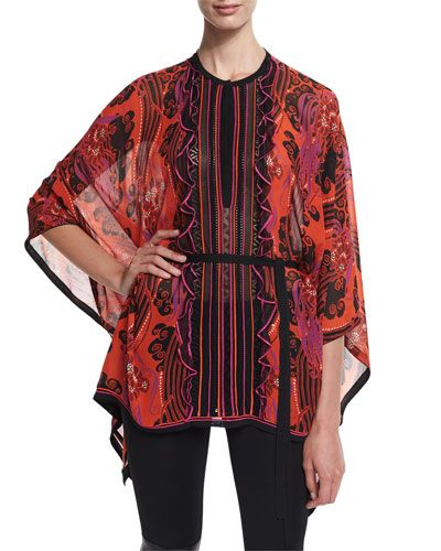 ROBERTO CAVALLI Jewel-Neck Printed Tunic, Red/Pink/Purple. #robertocavalli #cloth #