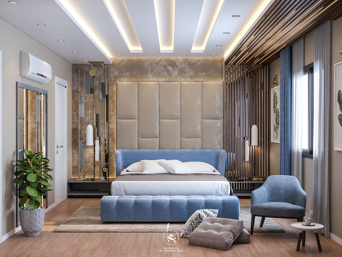 Master Bed Room Design On Behance Master Bedroom Design Bed Design Modern Modern Bedroom Interior Luxury double bed room