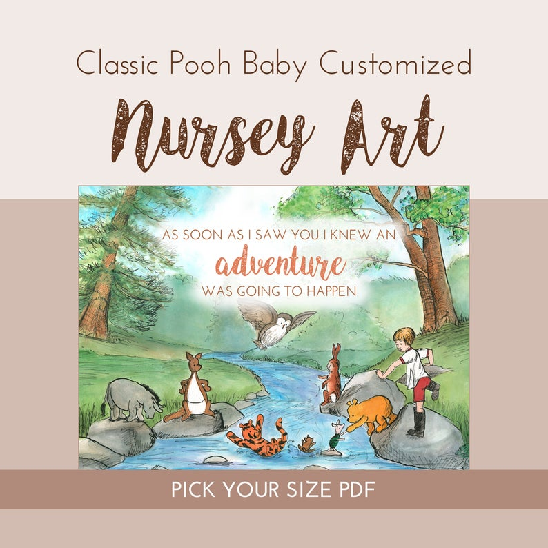 classic winnie the pooh customizable painting pdf  baby