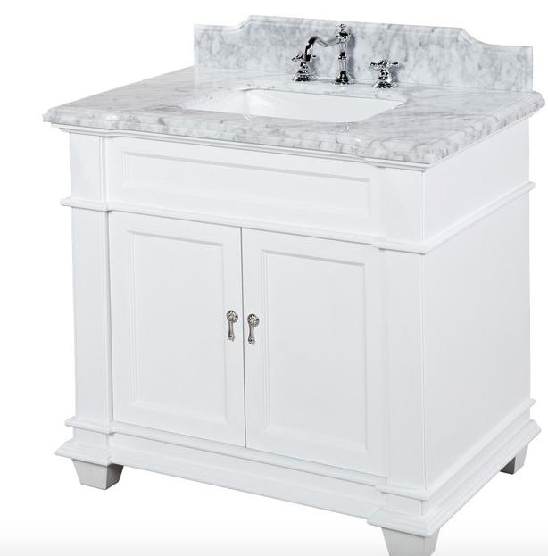 Https Www Houzz Com Product 7902572 Elizabeth Bath Vanity Base White 36 Top Carrara Marble Transitional Bathroom Vanity White Vanity Bathroom Houzz Bathroom