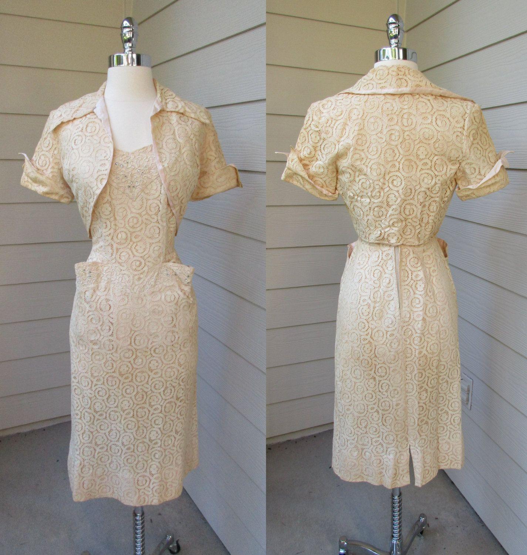 Lace dress 50s  ss Ivory Lace Dress Sleeveless w Rhinestones u Shrug Claudia