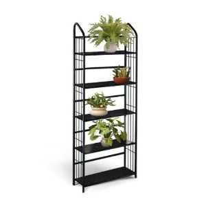 Wonderful Black Metal Outdoor Patio Plant Stand 5 Tier Shelf Unit SHELVES) Black  Tiers / Tall X Wide X Deep This Is A Nice Contemporary Patio Plant Stand U2026