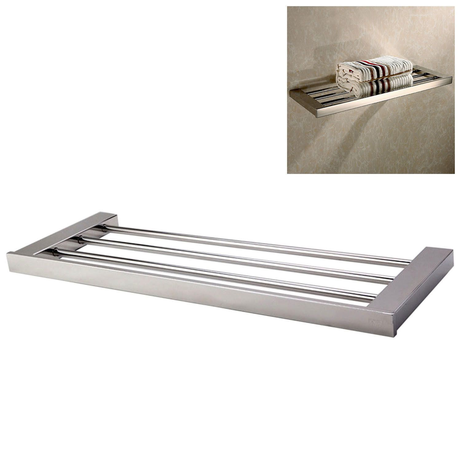304 Stainless Steel Bathroom Lavatory Shelf Towel Rack Wall Mount ...