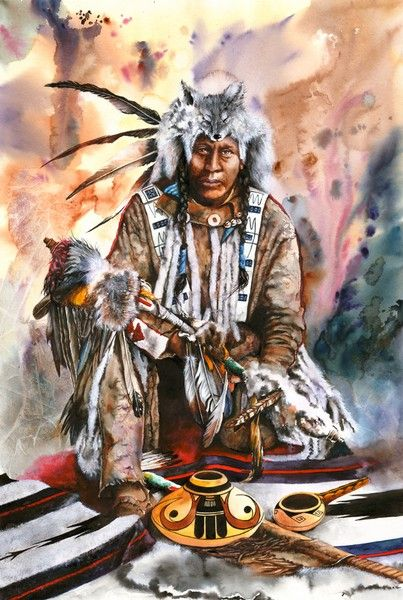 Holder Of The Thunderpipe.  Peter Williams.  Watercolor