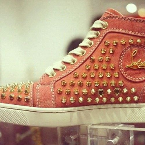 Christian Louboutin Louis Flat Spikes in Salmon Pink For Fall/Winter 2012