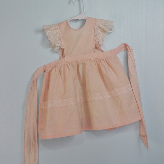 40s little GIRLS PINAFORE dress w/ eyelet by rockstreetvintage, $38.00