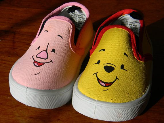 Painted Toddler Canvas Shoes - Winnie the Pooh - Pooh Bear - Piglet - Disney  Fan - Movie - Baby - A. A. Milne - Christopher Robin - Friends 1df856631