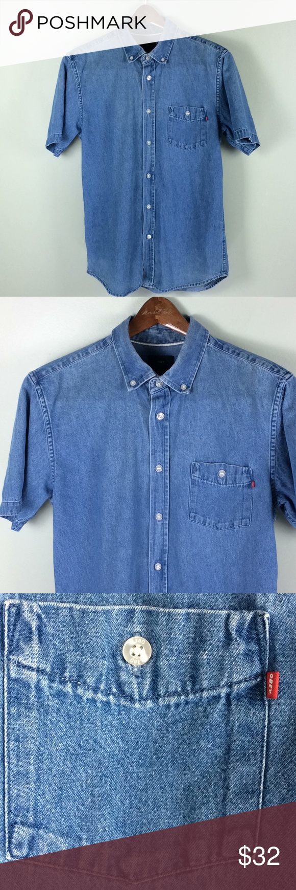 """8285252f45a OBEY Worldwide Button Front Denim Shirt OBEY Worldwide Button Front Short  Sleeve Denim Cotton Shirt Size Medium Chest-20"""" Length-28"""" Nice condition  without ..."""
