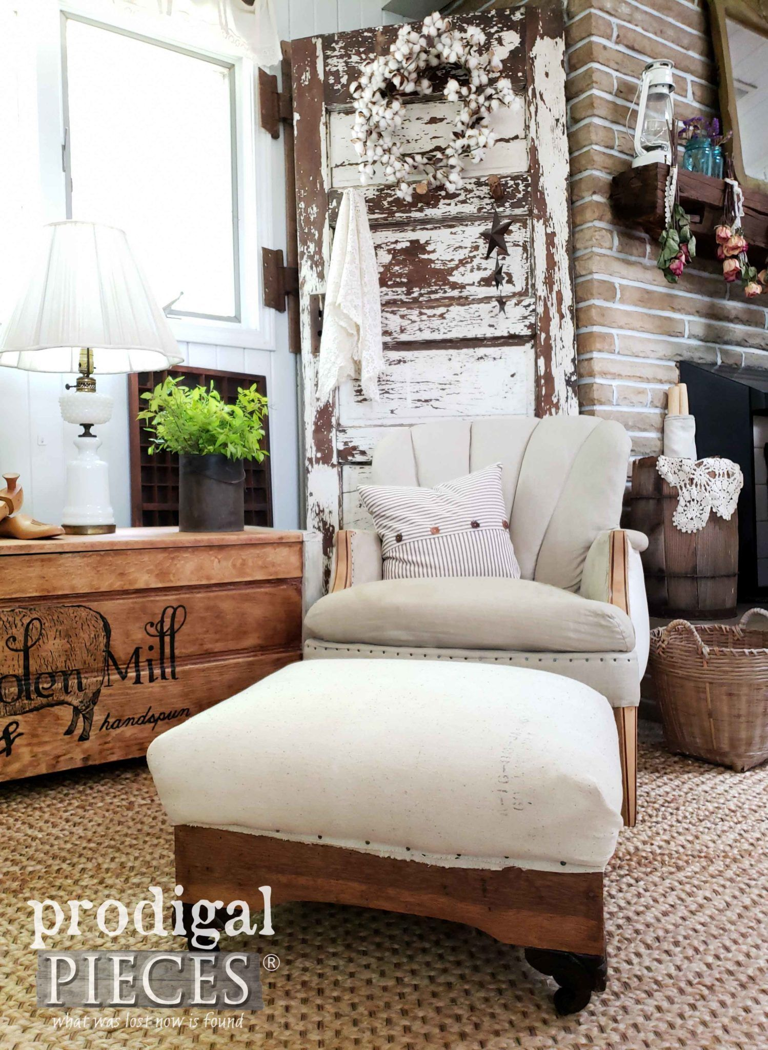 Rustic Farmhouse Feed Sack Ottoman In Deconstructed Style By Larissa