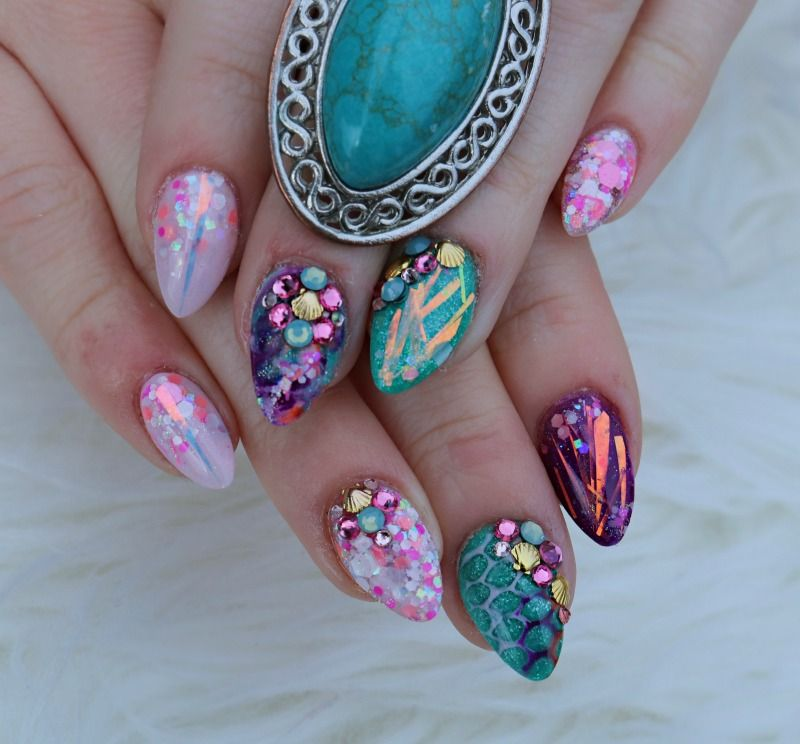 mermaid nails | My Style | Pinterest | Diseños de uñas, Arte uñas y ...