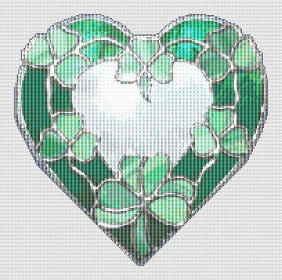 Cross Stitch Patterns - Stained Glass - Shamrock Stained Glass Heart CROSS STITCH PATTERN on CD