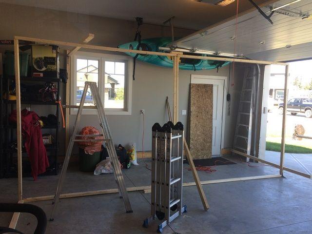 Easy to store garage haunt walls explained on Halloween Forum - halloween garage ideas