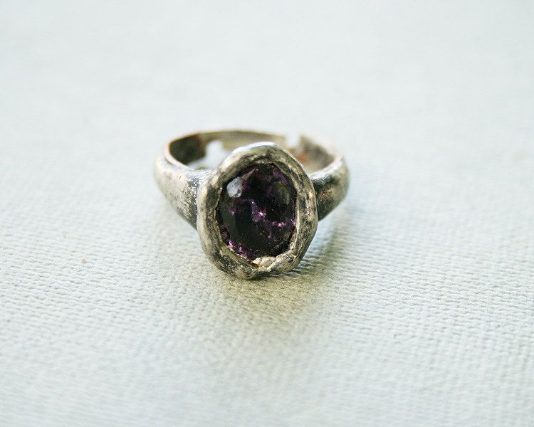amethyst ring, purple ring, crystal ring, tiffany method - method of statement