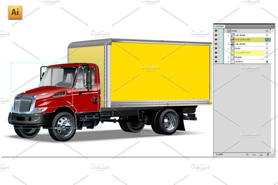 Vector Delivery Cargo Truck With Images Trucks Ship Vector