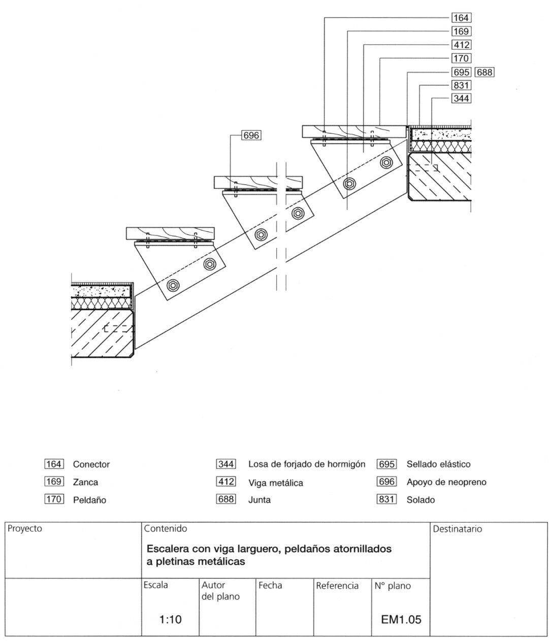 Stair section details sections pinterest escalera for Escalera 8 metros
