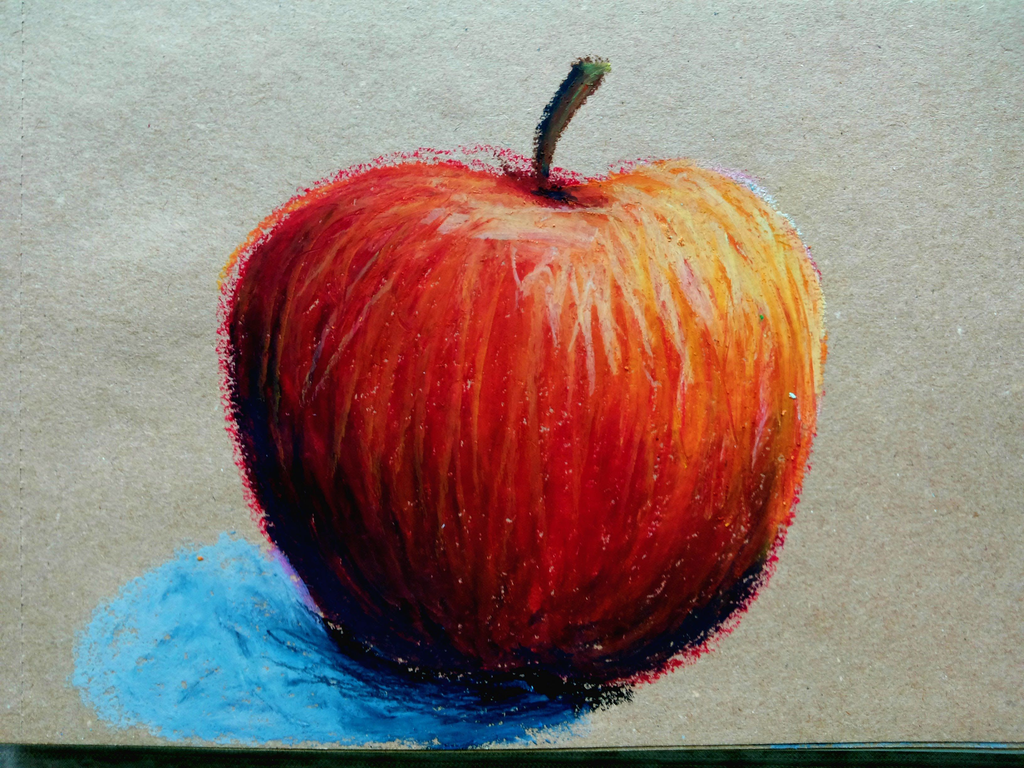 How To Draw An Apple With Oil Pastels Oil Pastel Drawings Easy Oil Pastel Art Oil Pastel Colours