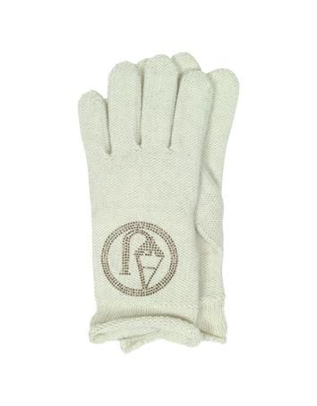 **New arrival** -Signature Wool Blend Gloves -   Signature Wool Blend Gloves crafted in 50% wool/50% acrylic blend makes transitioning into winter more fashionable. Featuring embroidered logo bezel detail and unfinished edge. One Size fits all. Made in Italy.