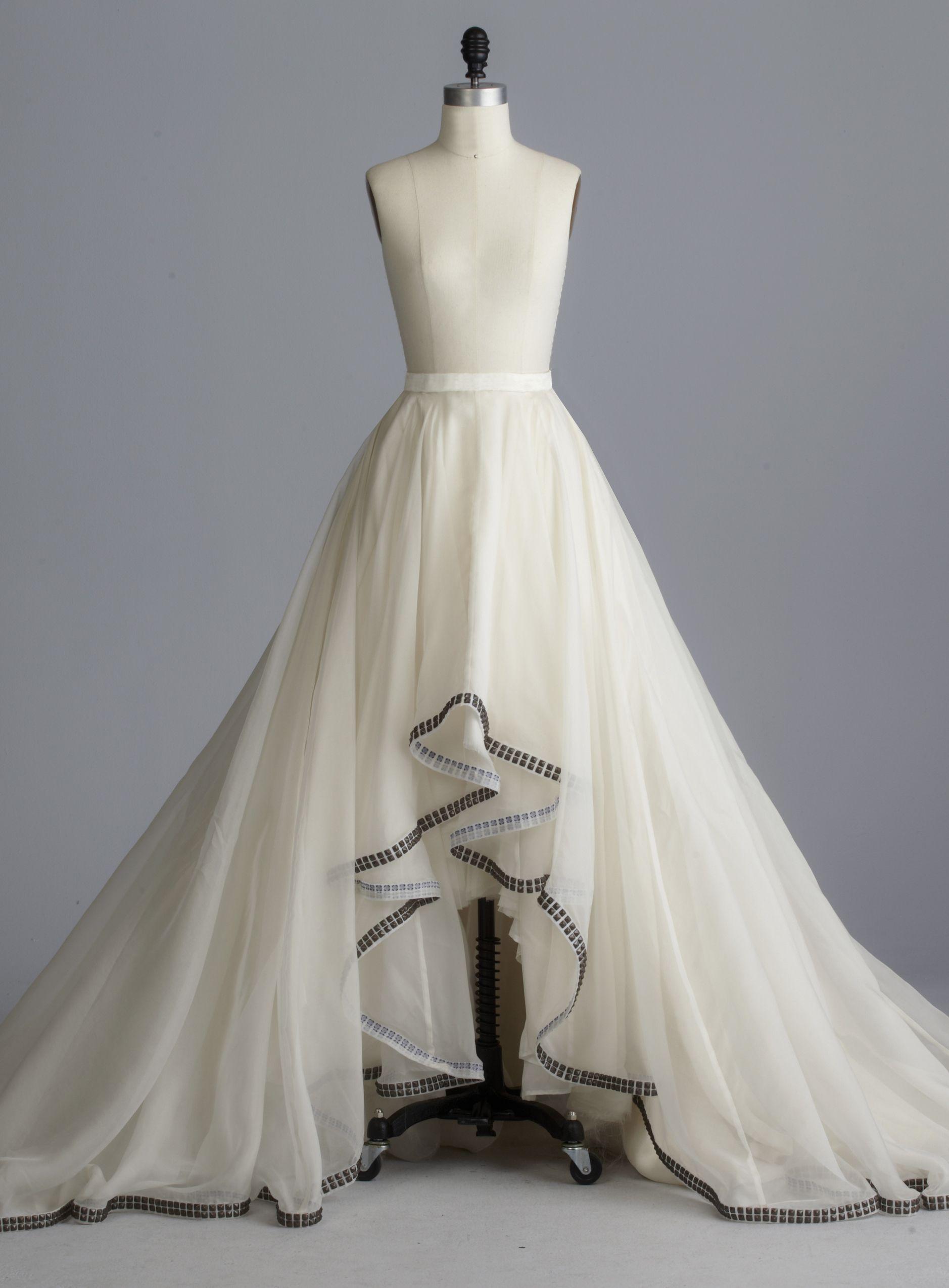 Della Giovanna Reegan Skirt- Off-White Silk Organza A-Line Circle ...