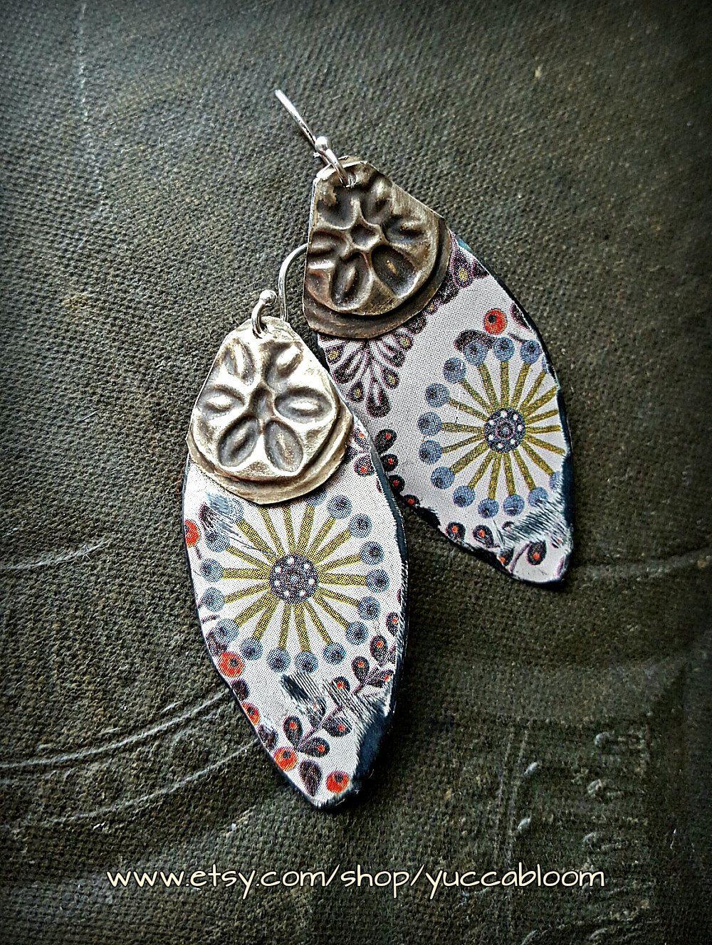 Tin Earrings, Traveler, Gypsy, Bohemian, Kuchi Banjara, Rustic ...