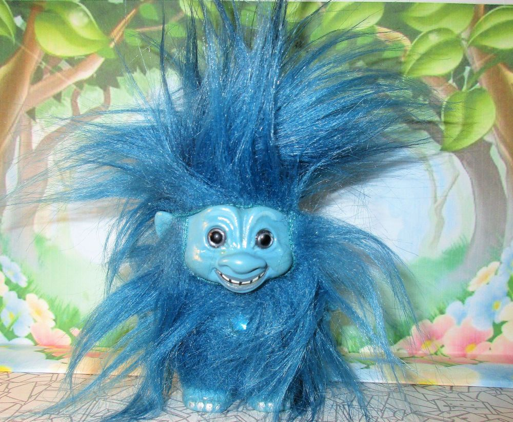 3 Yetti Troll Doll Custom Blue Hair Trolls Dolls Yeti Vintage Foot Upface Ace