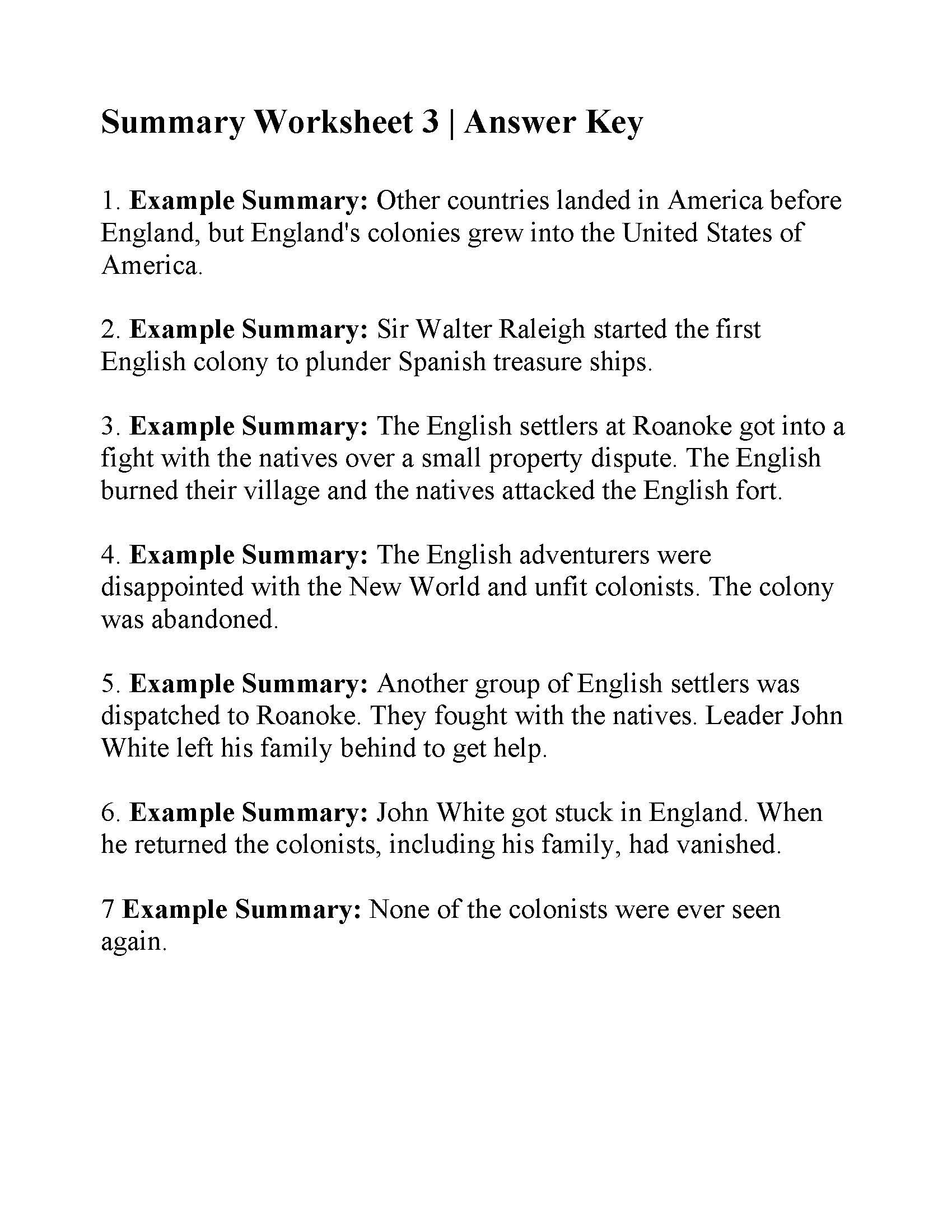 This Is The Answer Key For The Summary Worksheet 3