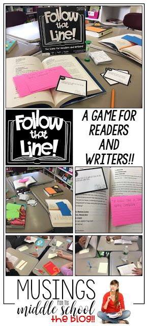 Follow That Line  A Game for Readers and Writers! is part of Writer workshop middle school, Middle school fun, Middle school games, Middle school ela activities, School library lessons, Middle school english - he get to keep the card and win the round  The player with the most cards at the end of the game wins! Can I tell you how much fun we had playing this game! Each round will produces a ton of laughs and will introduce your students to some exciting future reading material  And, you can have students record some of the best combinations to use as stellar openings for future writing pieces  The game is a win, win, win!! Got any great game ideas to share to help us all get through the endoftheyear craziness  I'd love to hear about them  Comment below or stop by my Facebook page to share )