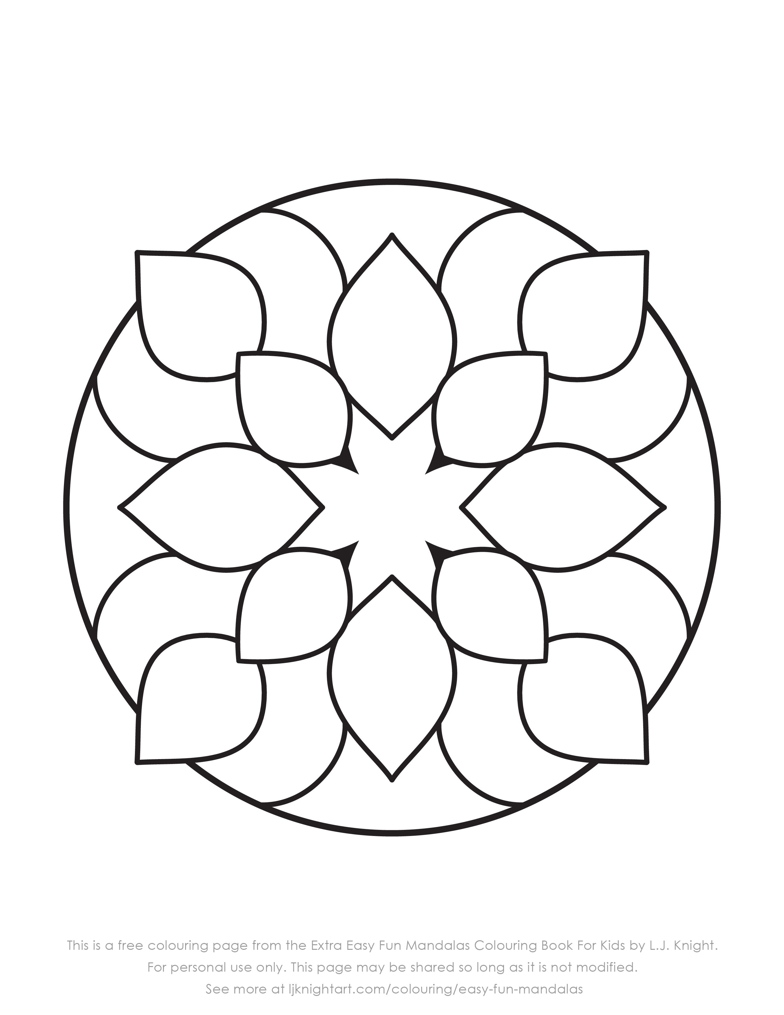 Free Colouring Page From The Extra Easy Fun Mandalas Colouring