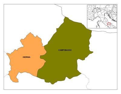 Imagen de https://upload.wikimedia.org/wikipedia/commons/thumb/5/55/Molise_Provinces.png/400px-Molise_Provinces.png.