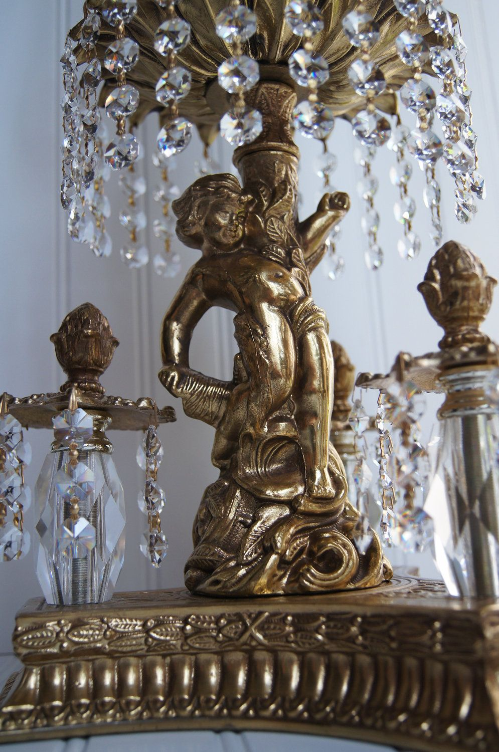 Extremely Beautiful Unique Vintage Heavy Crystal Lamp With Gold Cherub  Figure