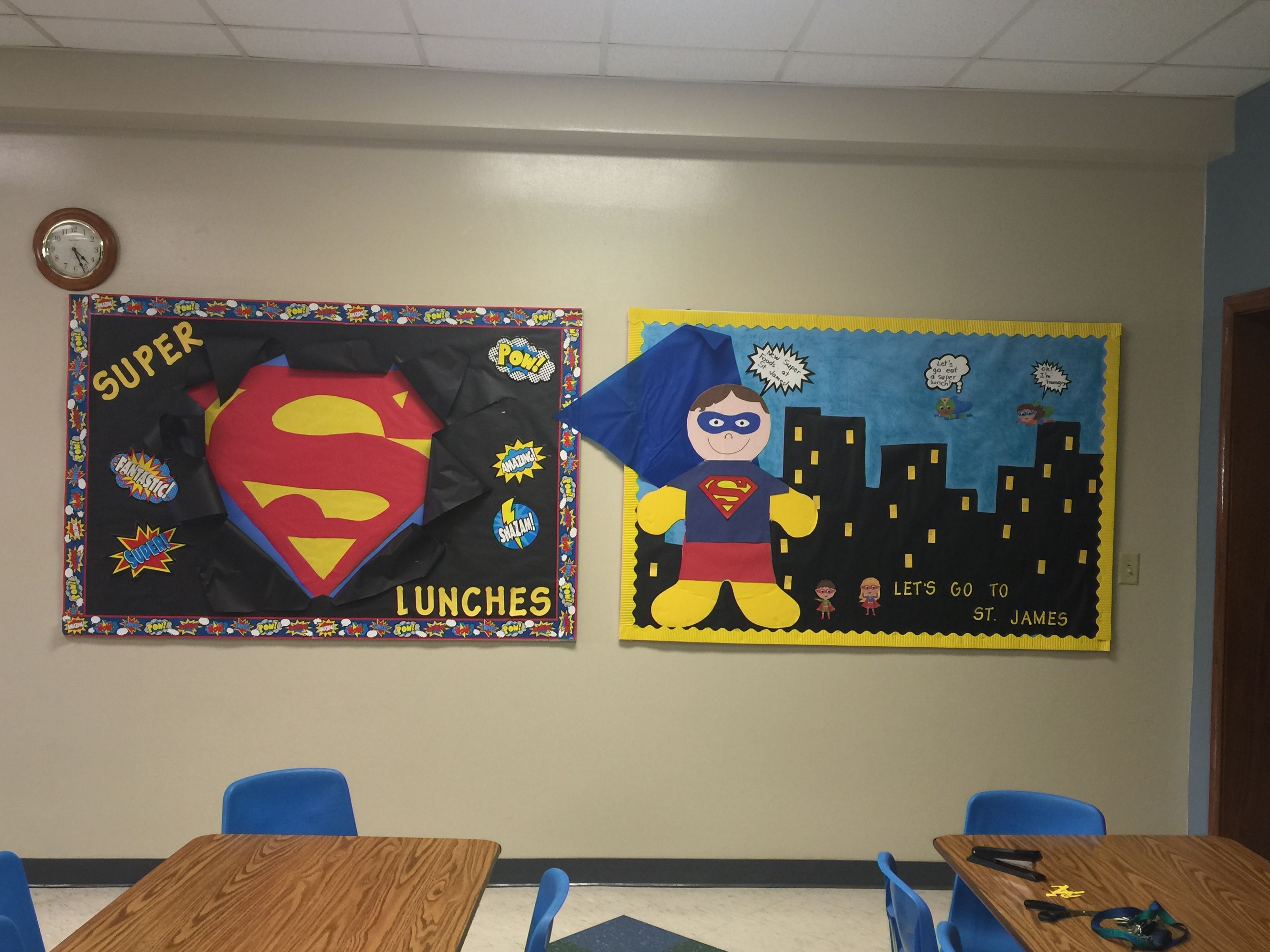 Superhero Themes On Cafeteria Bulletin Boards St James