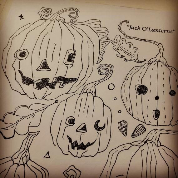 PDF Pattern Jack O Lanterns by Megan Holloway Halloween Folk Art pattern for embroidery tole paintin #tolepainting