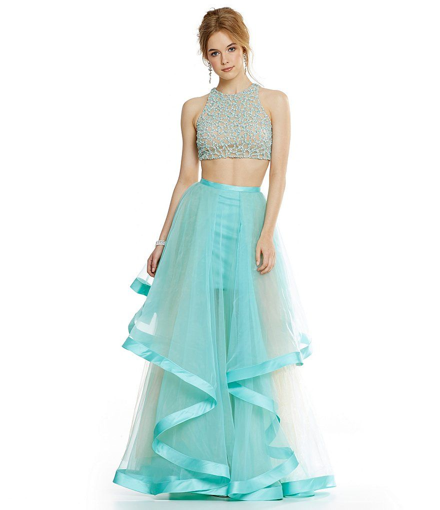 937a8003078  298 Glamour by Terani Couture Beaded Bodice Crop-Top Two-Piece Ball Gown