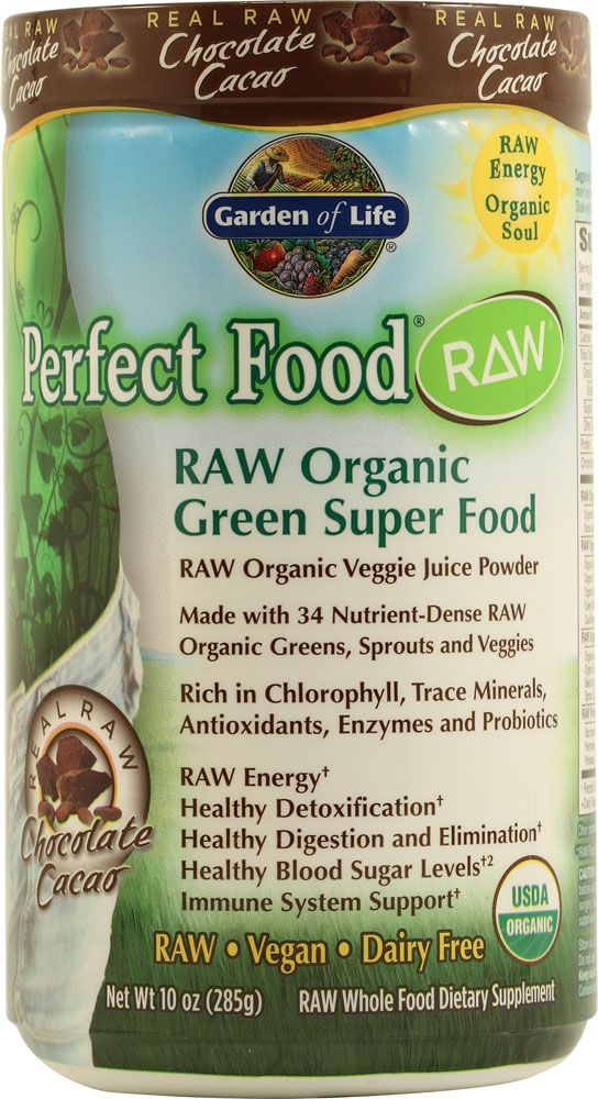 Garden of Life Perfect Food® RAW Organic Chocolate Powder Chocolate ...