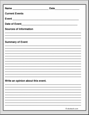 graphic relating to Current Events Worksheet Printable named Pin upon Kylees Inventive Crafting