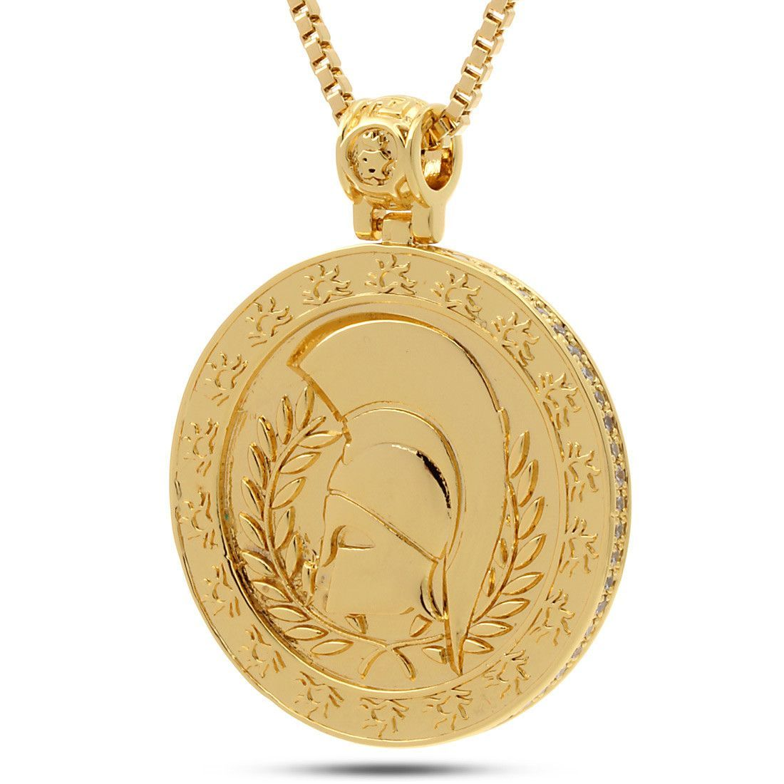 gold pendant medallion gemstone link cuban rc medusa