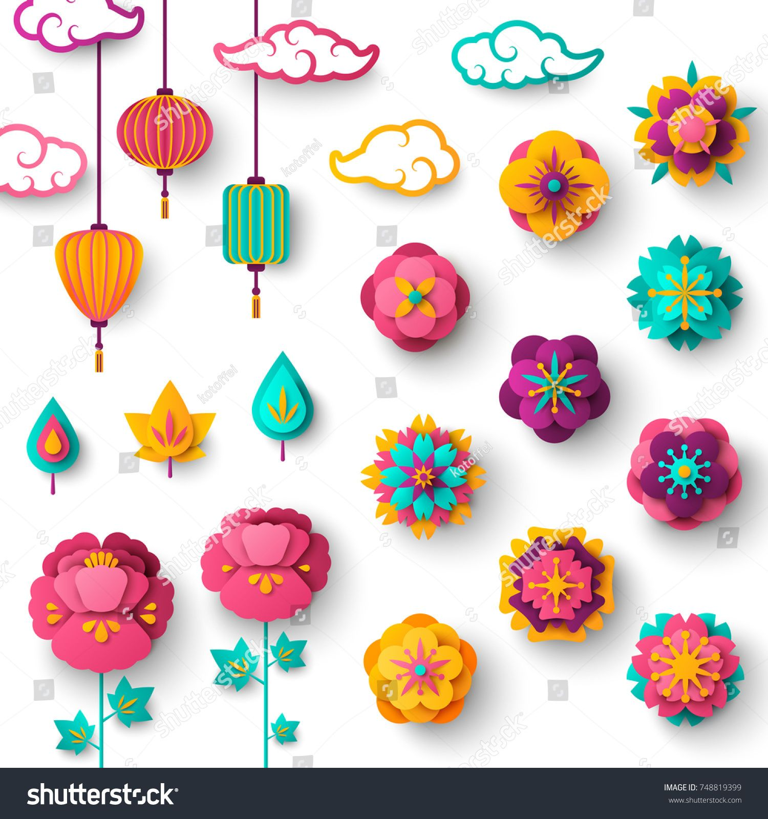 Chinese Decorative Icons Clouds Flowers And Chinese Lights In