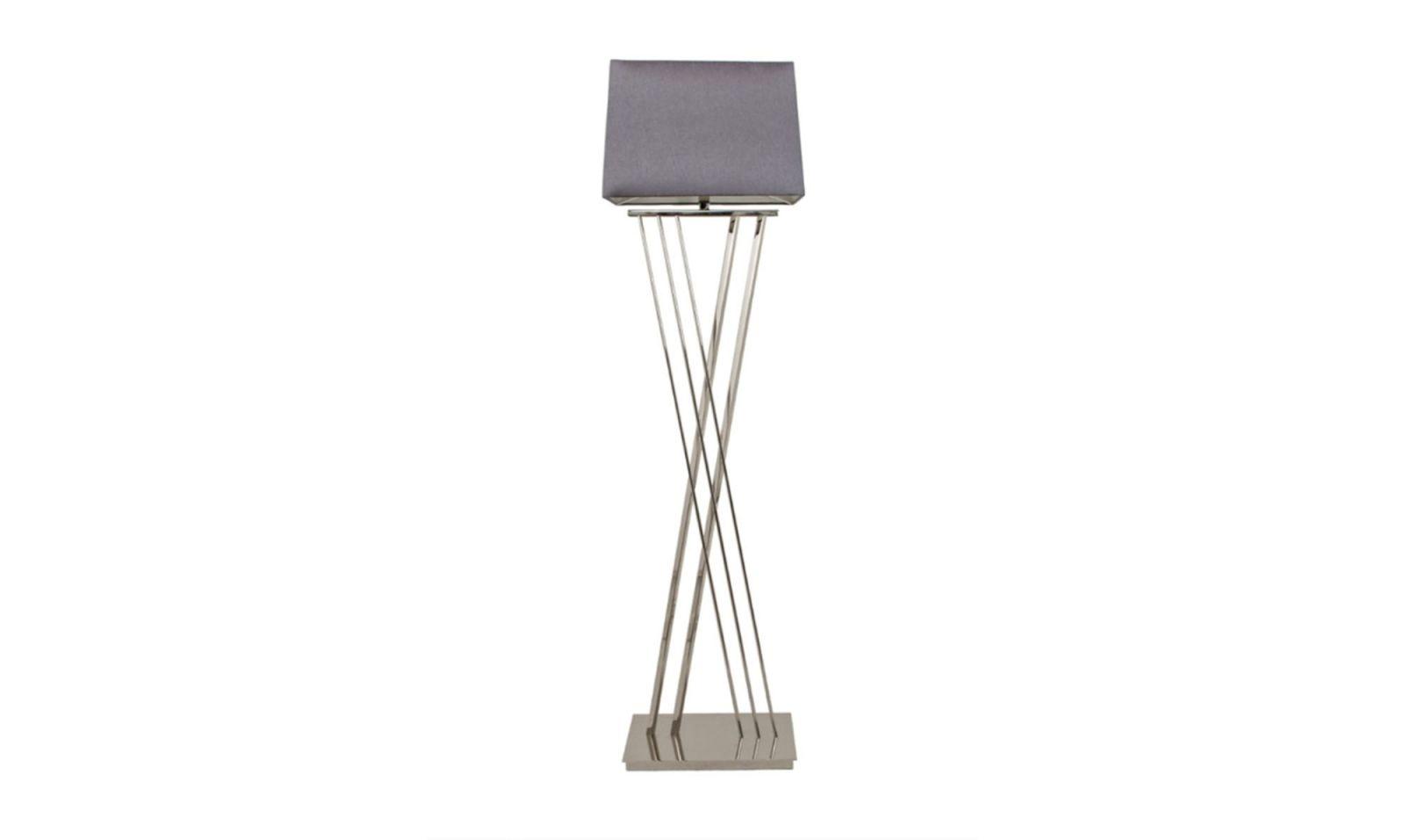 Xavier Floor Lamp Nickle With Grey Rectangle Shade Floor Lamp