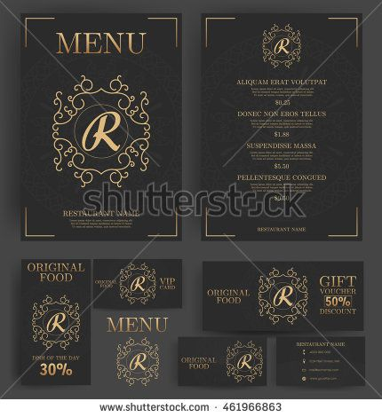 Restaurant menu template elegant black and luxury gold branding restaurant menu template elegant black and luxury gold branding business card flyer vip card and gift voucher vector design wajeb Images