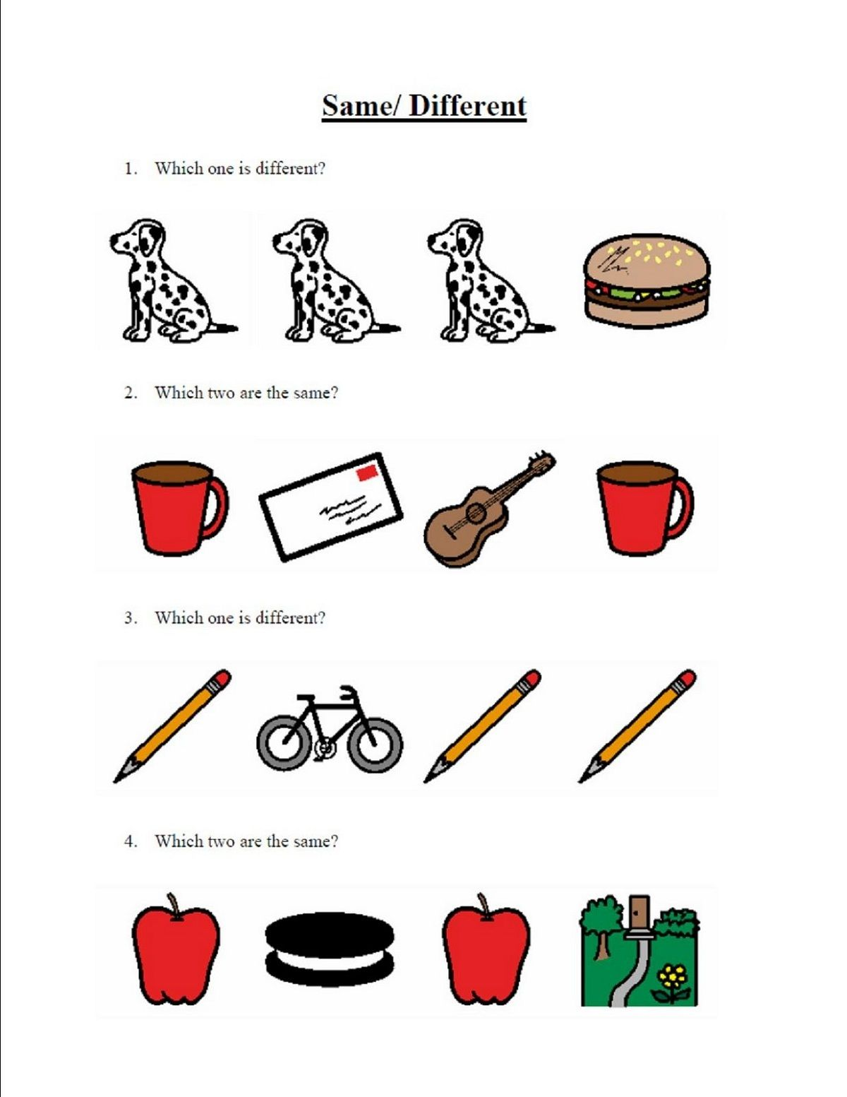 Same Or Different Worksheets Fun Identifying An Object