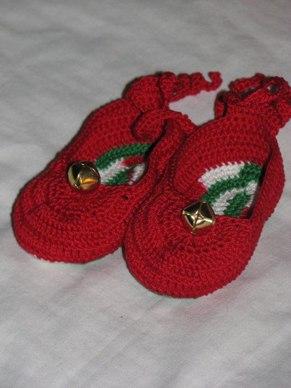 Jingle Bell Red Baby Shoes for Baby's First Christmas by wazzuman, $9.00