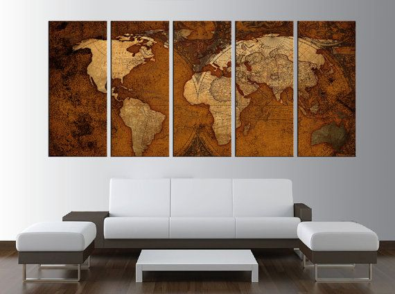 World map canvas art print for office old vintage world map wall world map canvas art print for office old vintage world map wall art large gumiabroncs Choice Image
