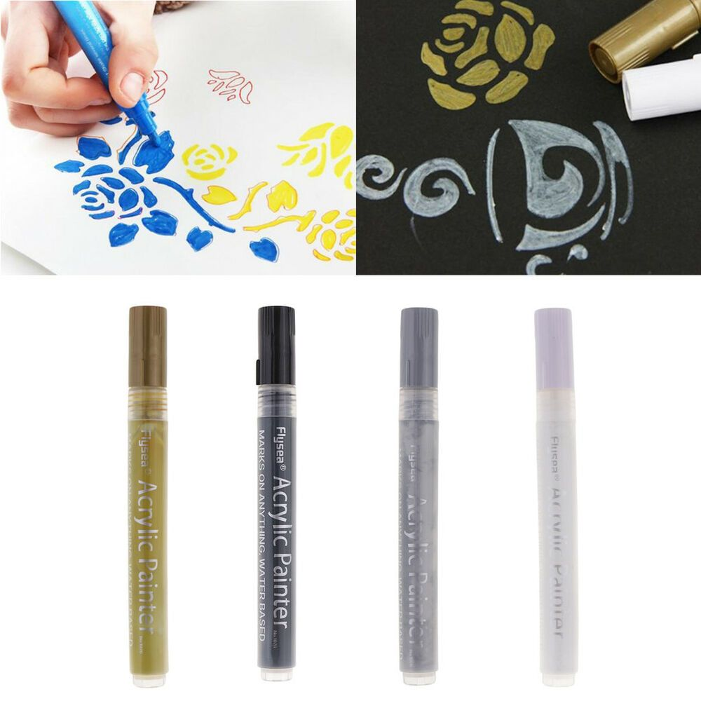 4pc Acrylic Paint Markers For Glass Metal Ceramic Porcelain Rock Wood Fabric Afflink When You Click On Lin With Images Paint Marker Pen Paint Pens For Rocks Paint Markers