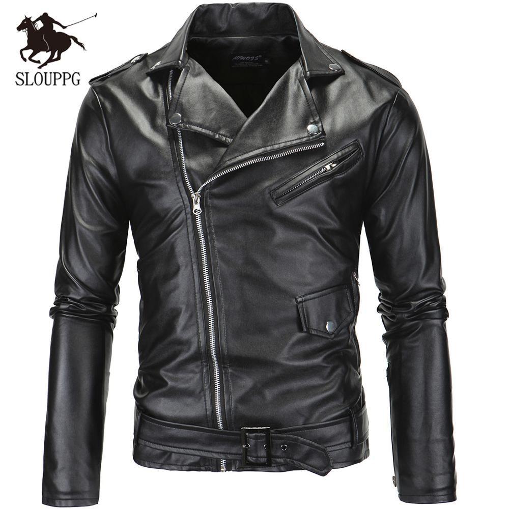 Spring Autumn Motorcycle Leather Jacket Men Slim Fit Oblique Zipper Pu Jacket Men Leather Jacket Men Style Leather Jacket Style Faux Leather Motorcycle Jacket [ 1000 x 1000 Pixel ]