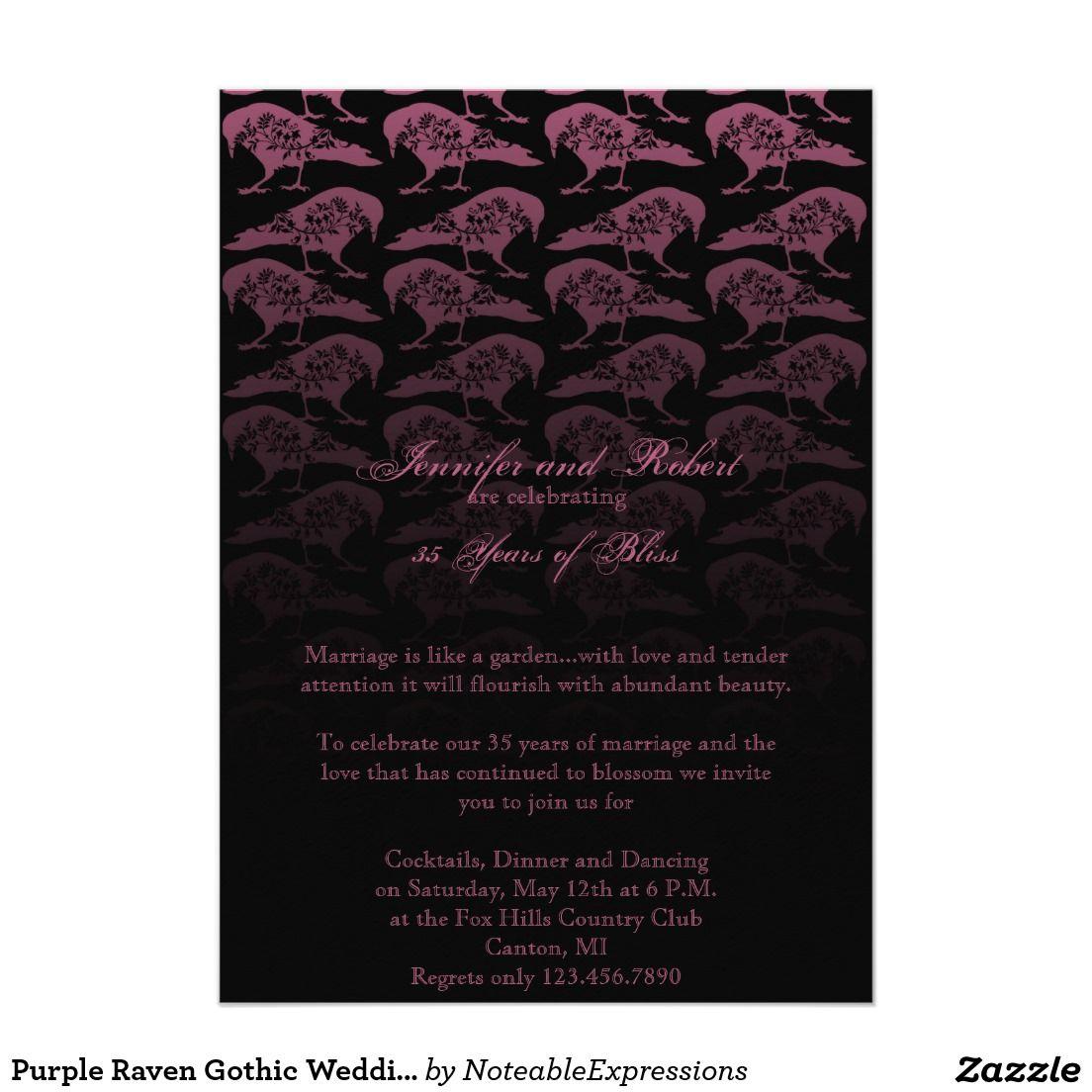 Purple raven gothic wedding anniversary card anniversary purple raven gothic wedding anniversary card kristyandbryce Images