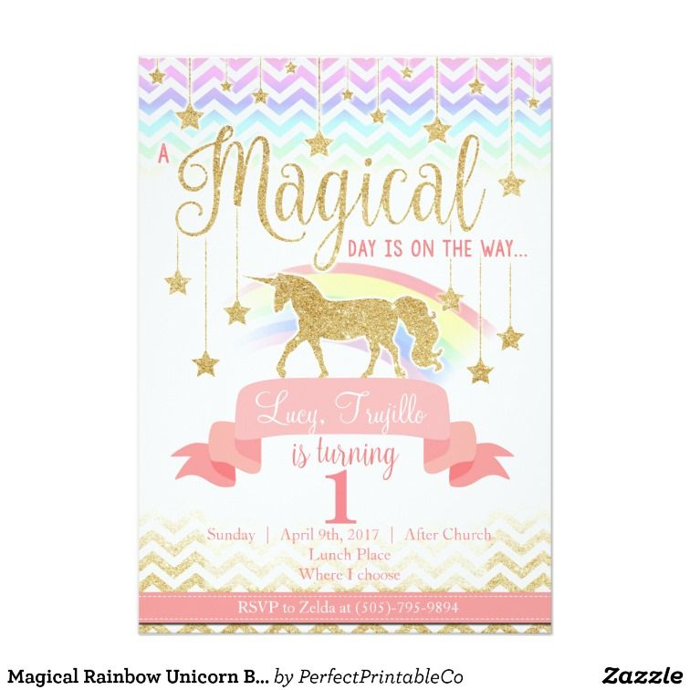 Magical Rainbow Unicorn Birthday Party Invitation | Unicorn birthday ...