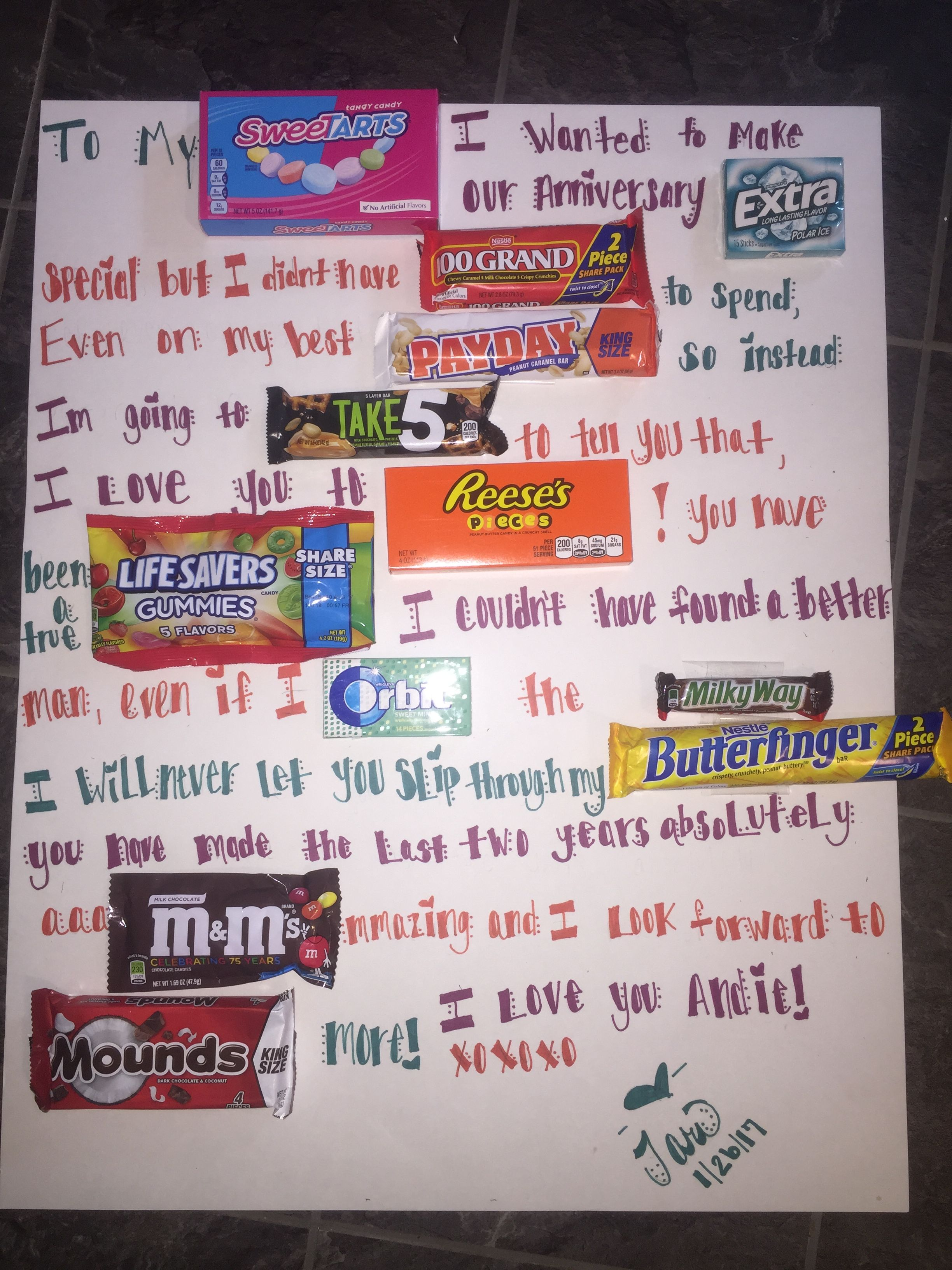 Cute valentines anniversary ideas with candy bars and poster board cute valentines anniversary ideas with candy bars and poster board negle Image collections