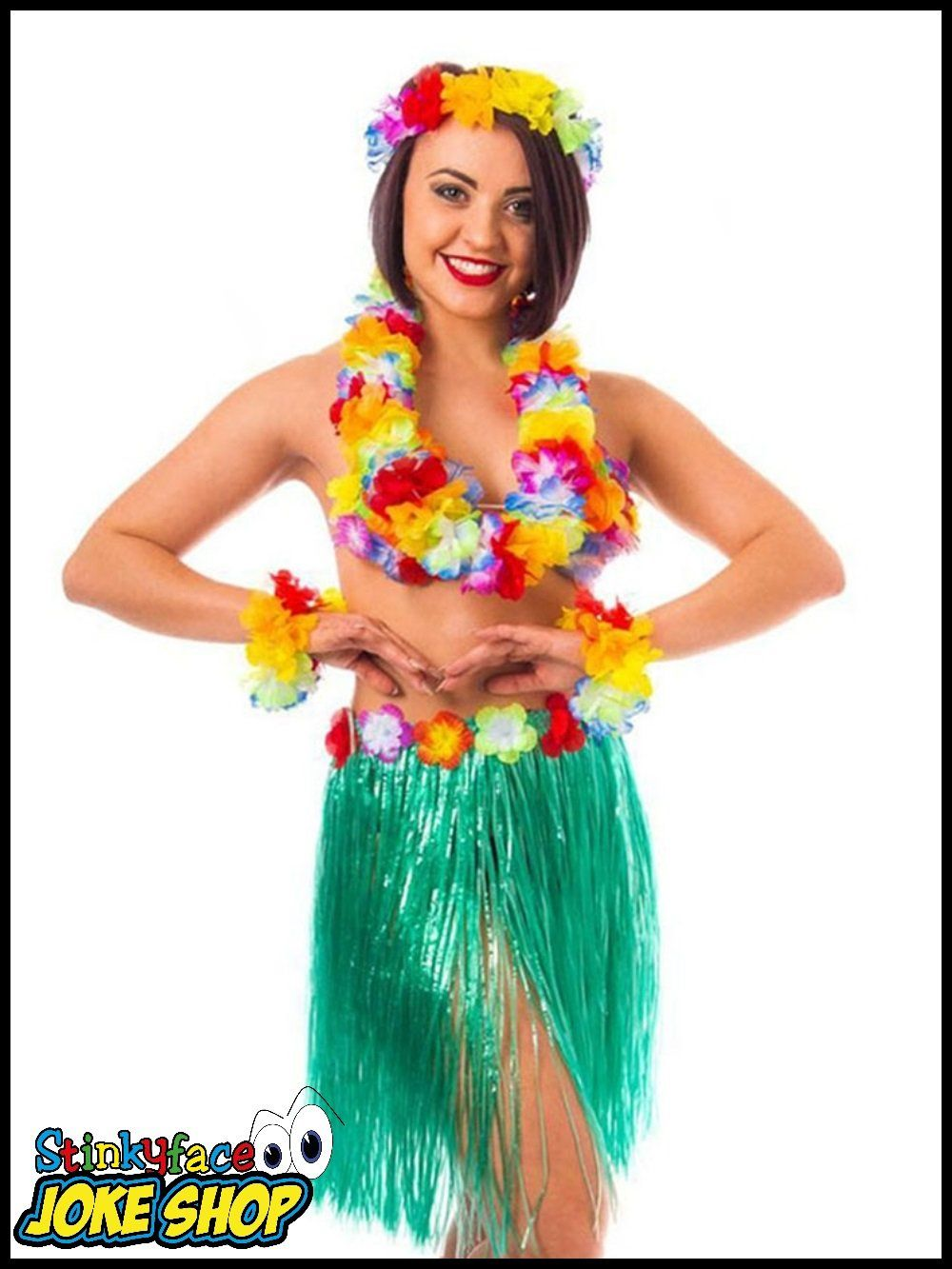 LUAU PARTY ONE SIZE UNISEX HULA FANCY DRESS ACCESSORY HAWAIINA FLOWER BRA